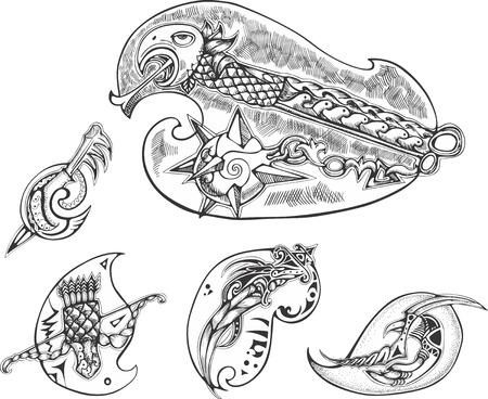 blades: Set of bird-stylized blades. Vector illustrations. Illustration