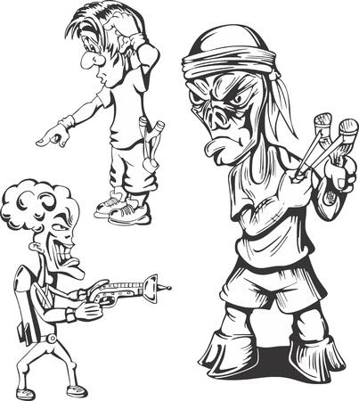 parody: Set of teenage hooligans. Vector illustrations. Illustration