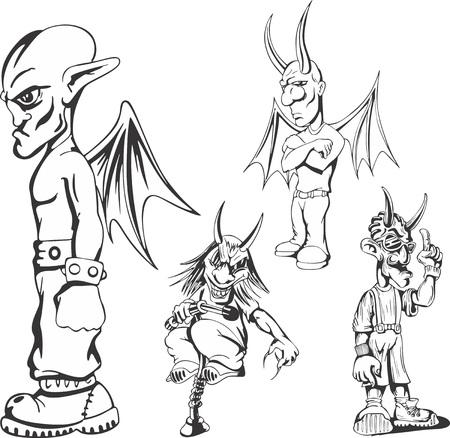 parody: Set of teenage redneck demon guys. Vector illustrations.