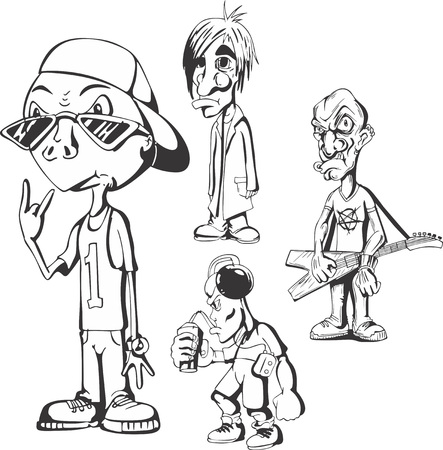 hippy: Set of teenage redneck hippy guys. Vector illustrations. Illustration