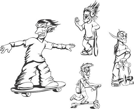 redneck: Set of teenage redneck activity guys. Vector illustrations. Illustration