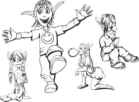elves: Set of redneck teenage elves. Vector illustrations.