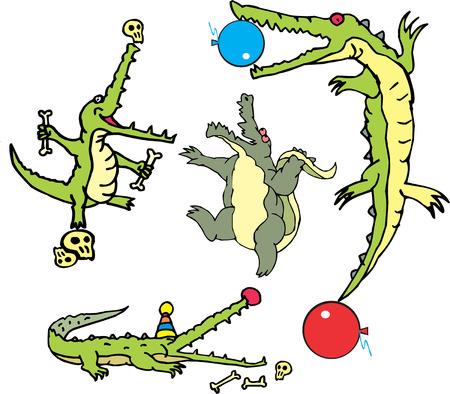 Set of comic gators as curcus actors (crococircus). Vector illustrations.