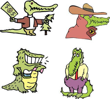 Set of human-like comic gators and amusing crocodiles (crocomen). Vector illustrations.