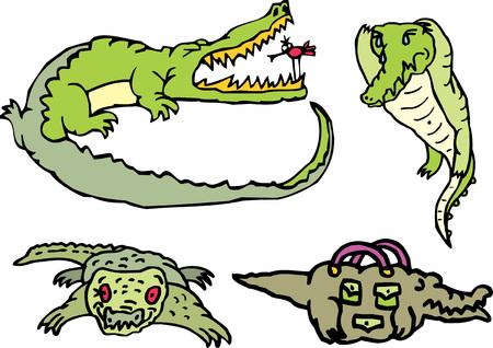 Set of comic gators and amusing crocodiles on a rest. Vector illustrations. Illustration