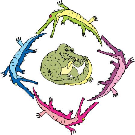 Crocouroboros (ouroboros of gators). Vector illustrations.
