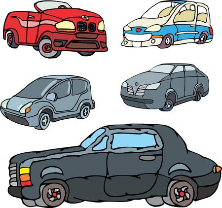 parody: Set of comic non-brand cars. Vector illustrations.