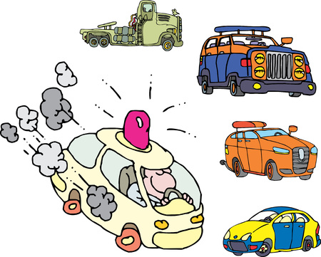 Set of comic non-brand emergency service cars. Vector illustrations.