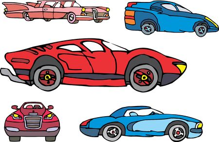 Set of comic non-brand sport and luxury cars. Vector illustrations.
