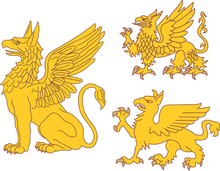 bestiary: Set of heraldic griffins. Vector illustrations.