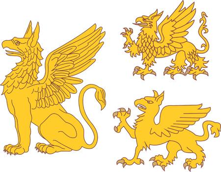 bestiary: Set of heraldic griffins. Vector illustrations.