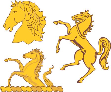 armorial: Set of heraldic horses. Vector illustrations.