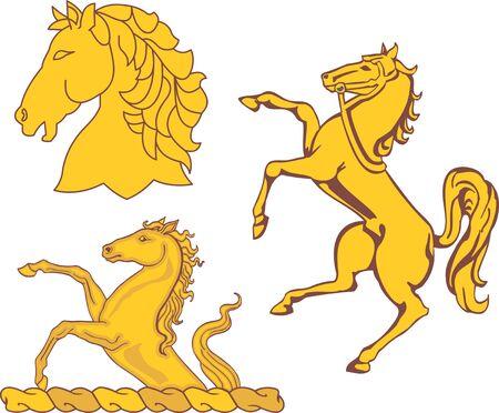 Set of heraldic horses. Vector illustrations.