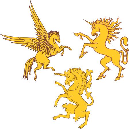 Set of mythic heraldic unicorns and pegasus. Vector illustrations.