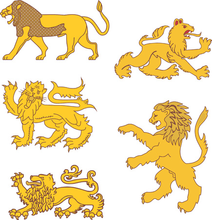 bestiary: Set of heraldic lions. Vector illustrations. Illustration