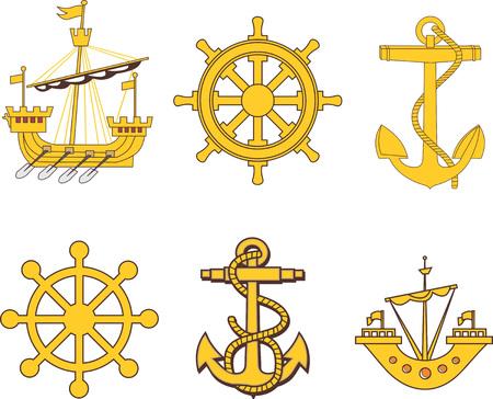 galley: Heraldic marine set. Vector illustrations.