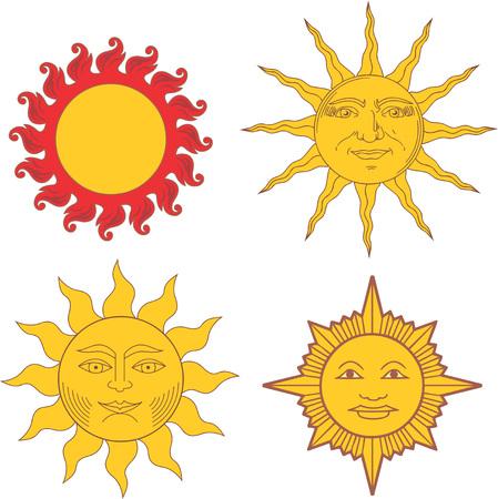 blason: Set of heraldic suns and solar signs. Vector illustrations.