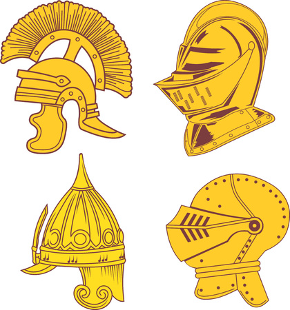 emblematic: Set of heraldic helmets - medieval, ancient and oriental. Vector illustrations.
