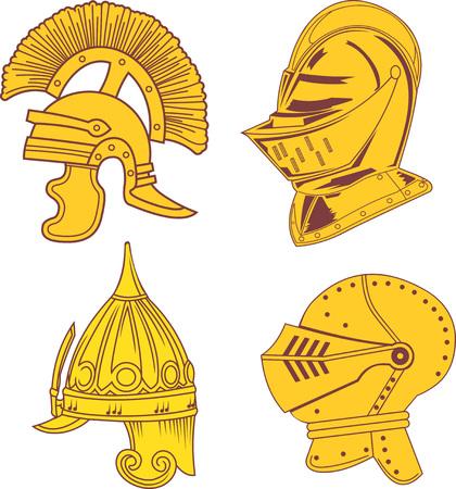 Set of heraldic helmets - medieval, ancient and oriental. Vector illustrations.