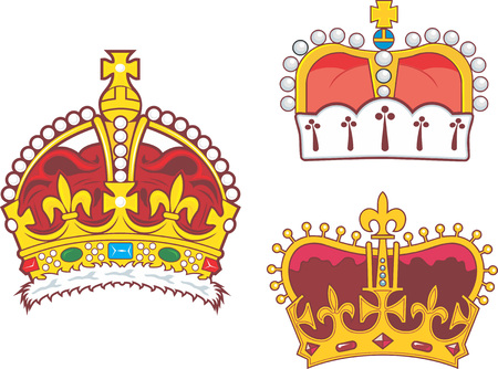 Set of heraldic royal and prince crowns. Vector illustrations.
