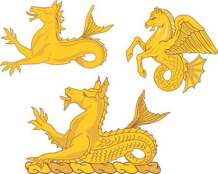 Set of heraldic sea horses. Vector illustrations.
