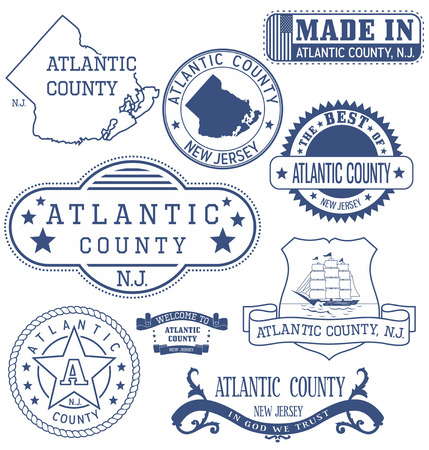 atlantic: Atlantic county, New Jersey. Set of generic stamps and signs.