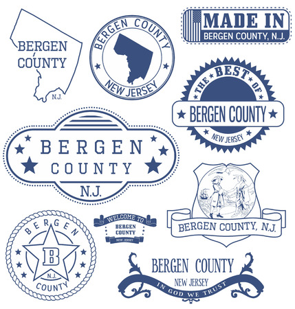 Bergen county, New Jersey. Set of generic stamps and signs.