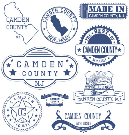 Camden county, New Jersey. Set of generic stamps and signs. Ilustração