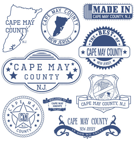 Cape May county, New Jersey. Set of generic stamps and signs.