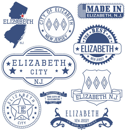 jersey city: Elizabeth city, New Jersey. Set of generic stamps and signs.