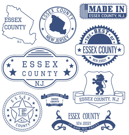 Essex county, New Jersey. Set of generic stamps and signs. Ilustração