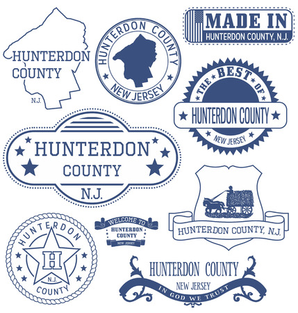 new jersey: Hunterdon county, New Jersey. Set of generic stamps and signs.