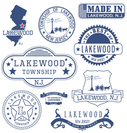 new jersey: Lakewood township, New Jersey. Set of generic stamps and signs.