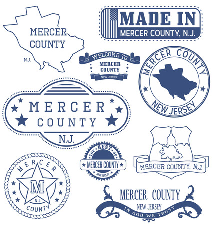 Mercer county, New Jersey. Set of generic stamps and signs.
