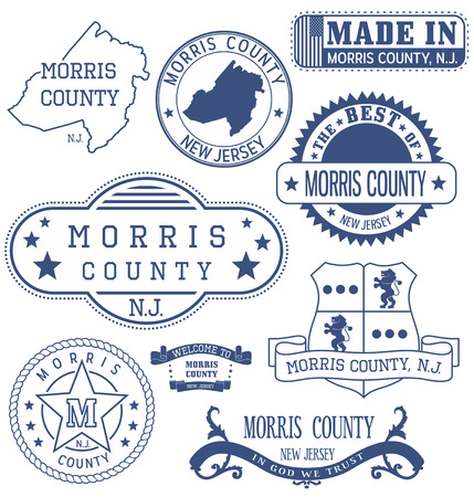 Morris county, New Jersey. Set of generic stamps and signs. 矢量图像