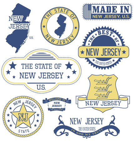 governmental: New Jersey. Set of generic stamps and signs.