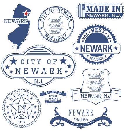 Newark city, New Jersey. Set of generic stamps and signs.