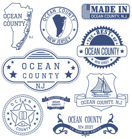 Ocean county, New Jersey. Set of generic stamps and signs.