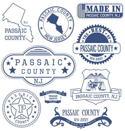 Passaic county, New Jersey. Set of generic stamps and signs.
