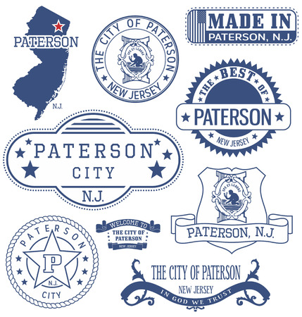 generic: Paterson city, New Jersey. Set of generic stamps and signs.