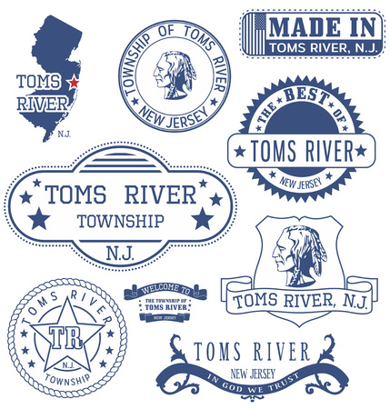 informal: New Jersey. Set of generic stamps and signs.