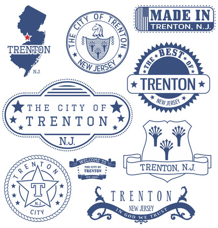 Trenton city, New Jersey. Set of generic stamps and signs. Illustration