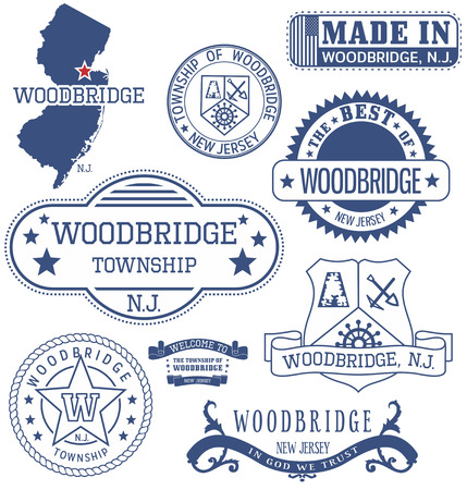 woodbridge: Woodbridge township, New Jersey. Set of generic stamps and signs.