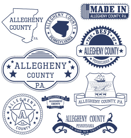 allegheny: Allegheny county, Pennsylvania. Set of generic stamps and signs.