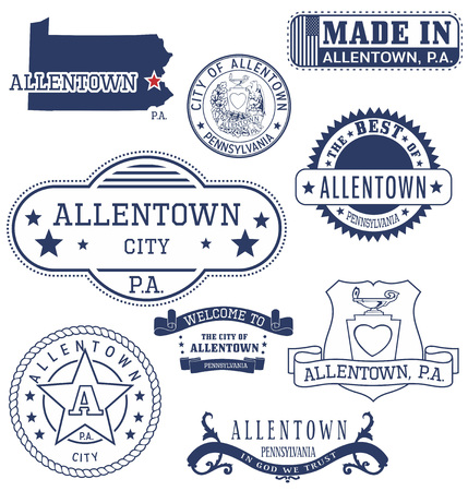unofficial: Allentown city, Pennsylvania. Set of generic stamps and signs. Illustration