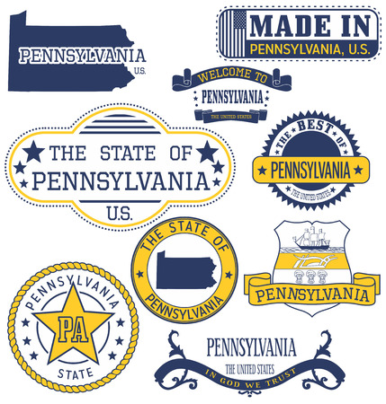 governmental: Pennsylvania. Set of generic stamps and signs.