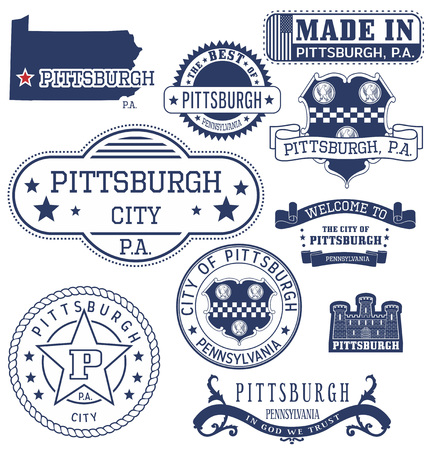 burgh: Pittsburgh city, Pennsylvania. Set of generic stamps and signs.