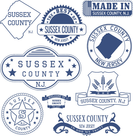 Sussex county, New Jersey. Set of generic stamps and signs.