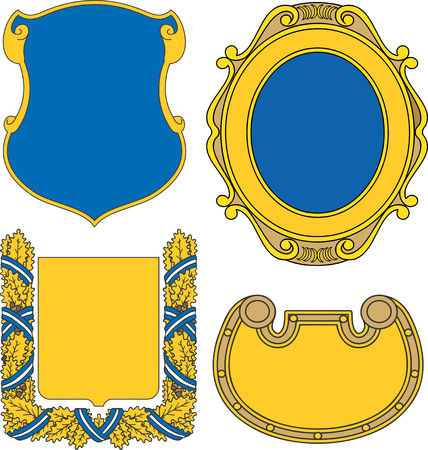 Set of heraldic shields and cartouches. Vector collection.