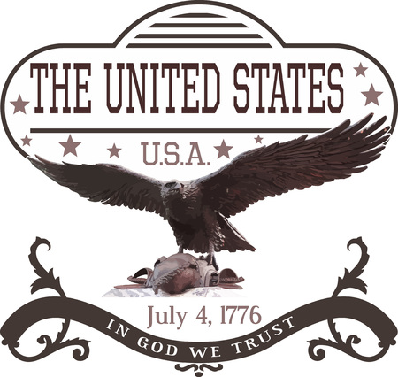 July 4th U.S. Independence Day Template with Eagle. Vector Illustration.